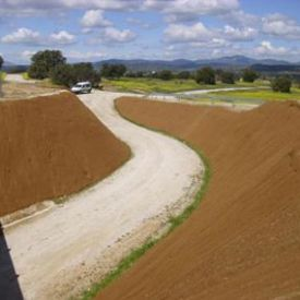 Hidrosiembra con protección de malla de coco en carretera M-501.(Comunida de. Madrid).